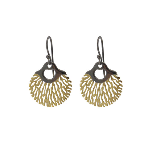 Circle sharpe leaves Gold & Black Sterling Silver Earrings