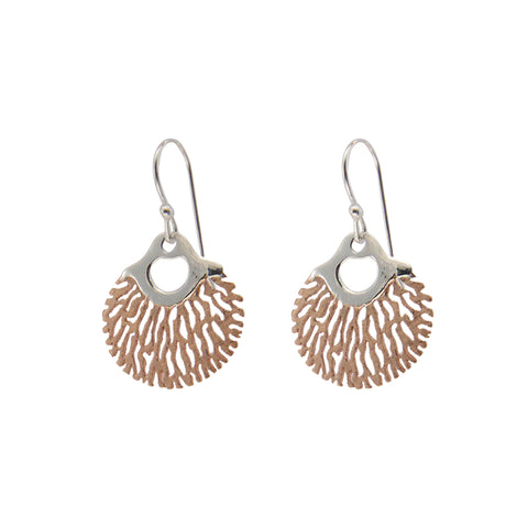 Circle sharpe leaves Rose Gold & Silver Sterling Silver Earrings