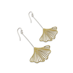Medium Cutout Ginkgo Gold Silver Sterling Silver Earrings