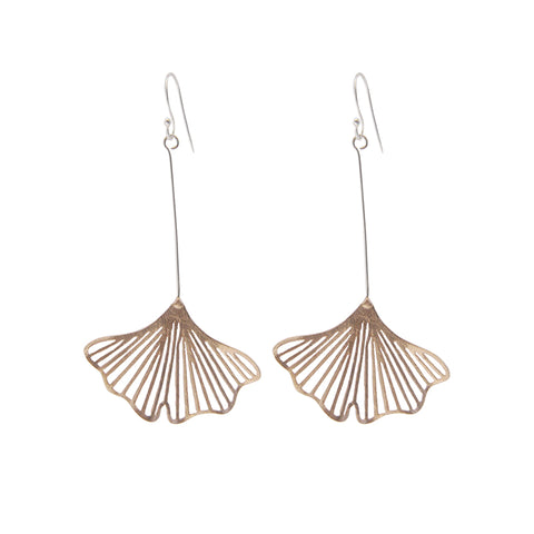 Medium Cutout Ginkgo Rose Gold Silver Sterling Silver Earrings
