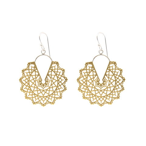 Cutout Pattern leaf Gold Silver Sterling Silver Earrings