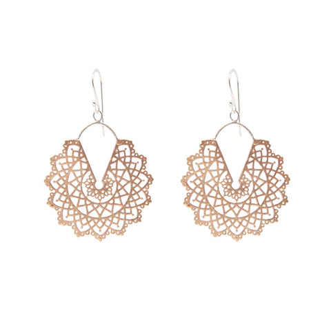 Cutout Pattern leaf Rose Gold Silver Sterling Silver Earrings