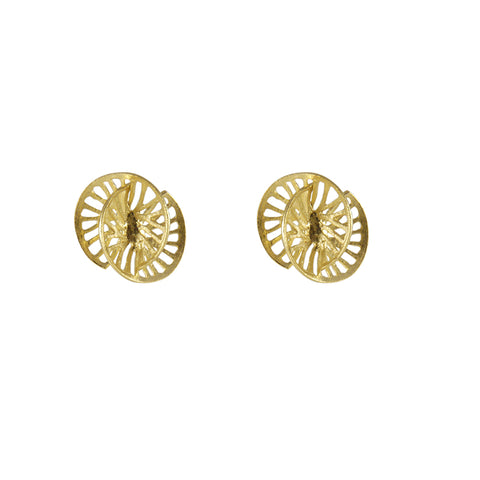 Cutout 3D Twisted Sphere Gold Earrings