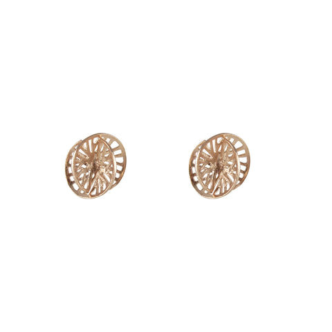 Cutout 3D Twisted Sphere Rose Gold Silver Earrings