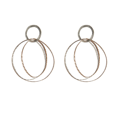 Trinity Rose Gold Sterling Silver Earrings