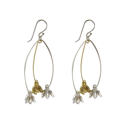 Branch flowers Gold Sterling Silver Earrings