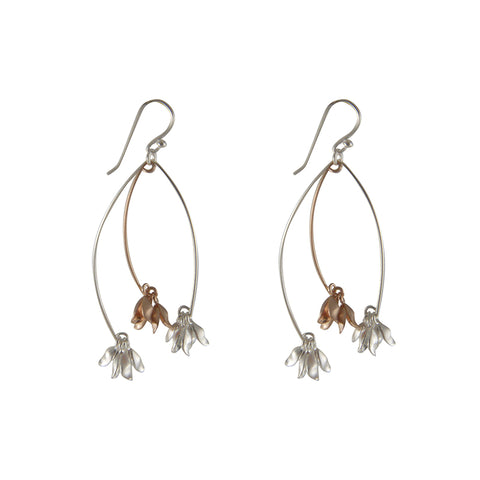 Branch flowers Rose Gold Sterling Silver Earrings