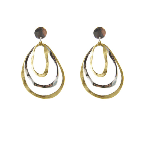 Cutout irregular circle shape Gold Sterling Silver Earrings