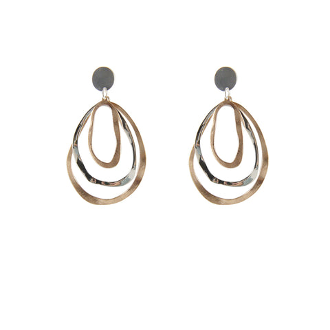 Cutout irregular circle shape Rose Gold Sterling Silver Earrings