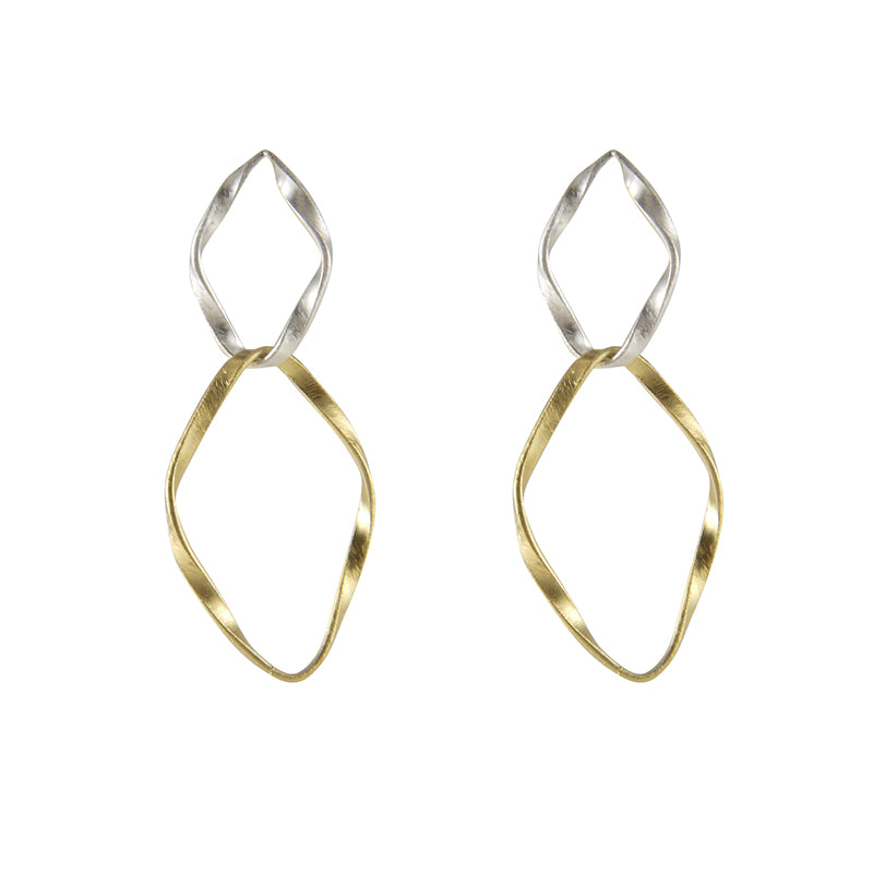 Cutout big Diamond Shinny Gold Sterling Silver Earrings