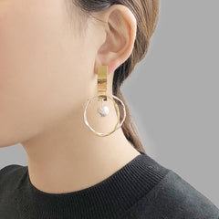 Cutout big circle with drop solid ball Gold Sterling Silver Earrings