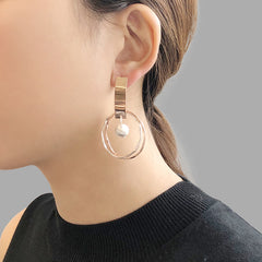 Cutout big circle with drop solid ball Rose Gold Sterling Silver Earrings