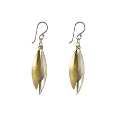 Two long shape leaves Gold Sterling Silver Earrings