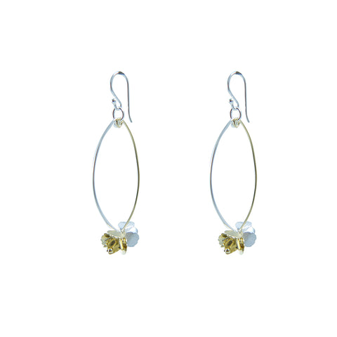 Branch of flower Gold Sterling Silver Earrings