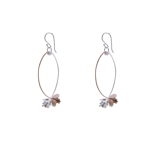 Branch of flower Rose Gold Sterling Silver Earrings