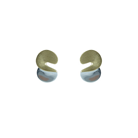 S Shape Gold Sterling Silver Earrings