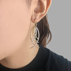 6 cured bar Gold Sterling Silver Earrings