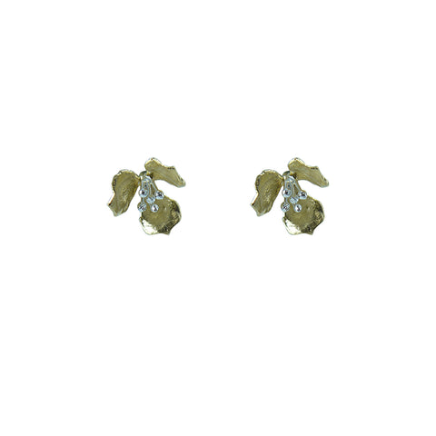 Fan shape Gold Sterling Silver Earrings