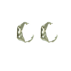 Shape C embrossed Gold Sterling Silver Earrings