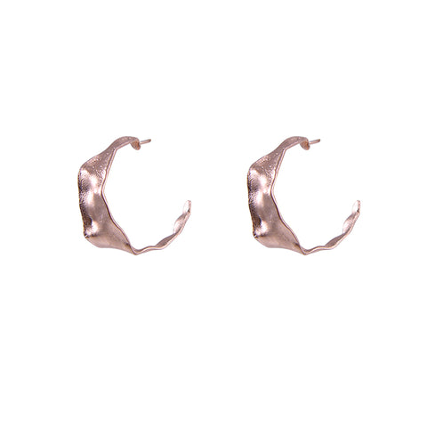 Shape C embrossed Rose Gold Sterling Silver Earrings