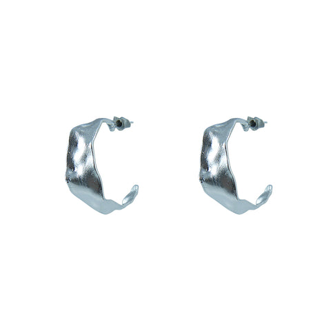 Shape C embrossed Sterling Silver Earrings