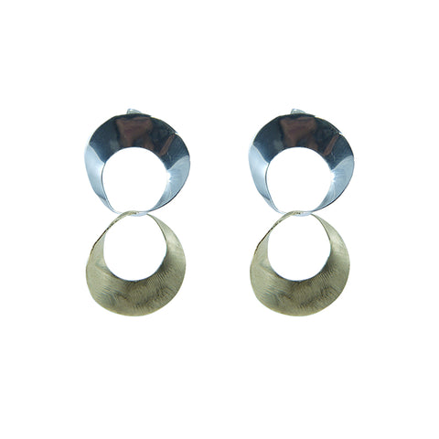 Double matt circle Gold Sterling Silver Earrings