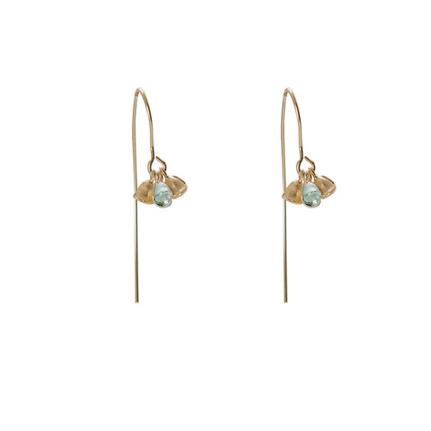 3 little flowers Gold Sterling Silver Earrings