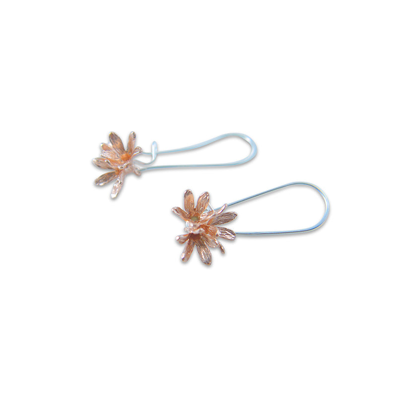 3 little flowers Rose Gold Sterling Silver Earrings