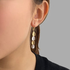 4 small leaves Silver and Gold Sterling Silver Earrings