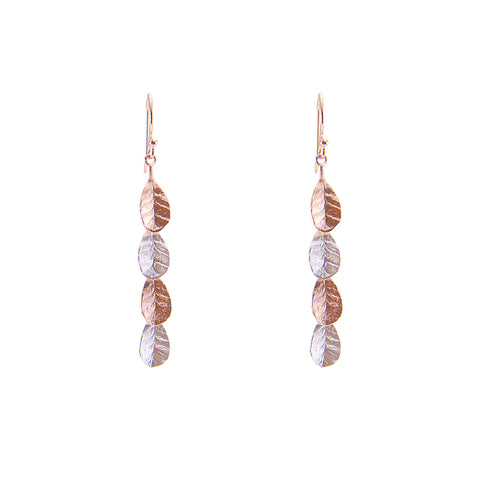 4 small leaves Silver and Rose Gold Sterling Silver Earrings