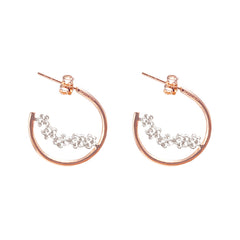 Small flowers in Circle Silver and Rose Gold Sterling Sliver Earrings