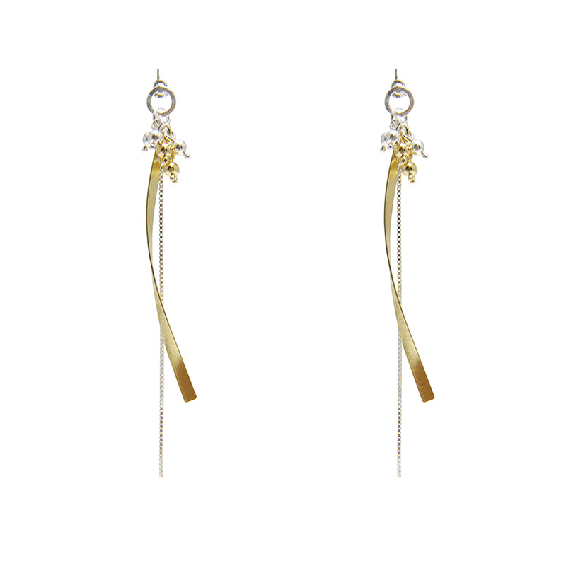 Mini Balls with Long Curved Chain Silver and Gold Sterling Sliver Earrings