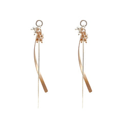 Mini Balls with Long Curved Chain Silver and Rose Gold Sterling Sliver Earrings