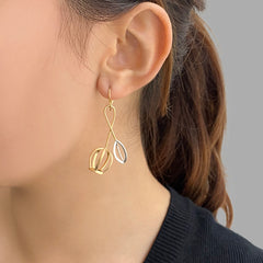 Bell Shaped Flower Silver and Gold Sterling Silver Earrings