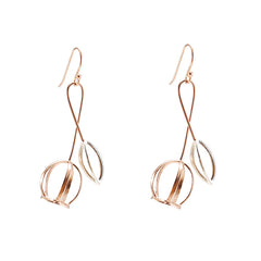 Bell Shaped flower Silver and Rose Gold Sterling Silver Earrings