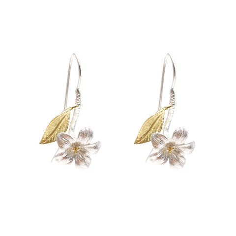 Vernicia Fordii Silver and Gold Sterling Silver Earrings