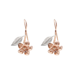 Vernicia Fordii Silver and Rose Gold Sterling Silver Earrings