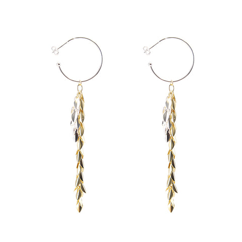 Folded leaves Chain Silver and Gold Sterling Silver Earrings