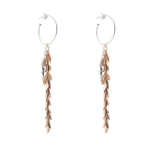Folded leaves Chain Silver and Rose Gold Sterling Silver Earrings