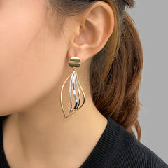 Cutout Curved Leaf Silver and Gold Sterling Silver Earrings