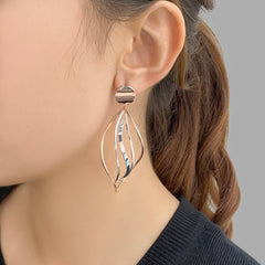 Cutout Curved Leaf Silver and Rose Gold Sterling Silver Earrings