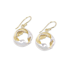 Twisted leaf round Silver and Gold Sterling Silver Earrings