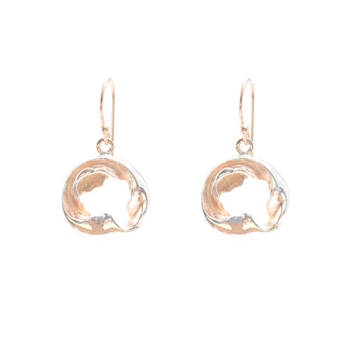 Twisted leaf round Silver and Rose Gold Sterling Silver Earrings