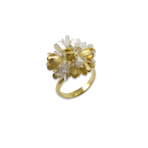 Hydrangea Gold & Sliver Sterling Silver Ring