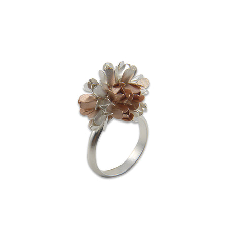 Hydrangea Rose Gold & Sliver Sterling Silver Ring