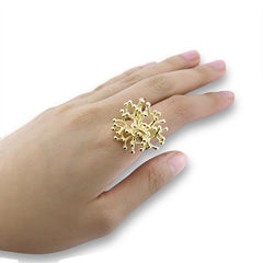 Lace Coral Gold Sterling Silver Ring