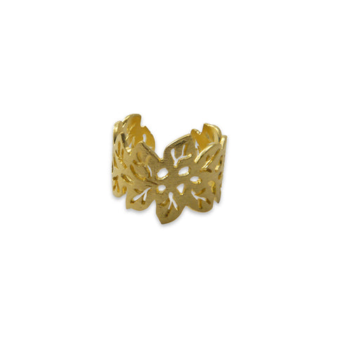 Small Leaf Pattern Gold Sterling Sliver Ring
