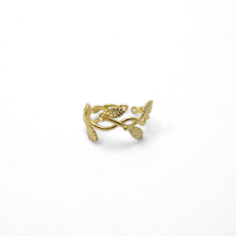 Flower and Leaf Ribbon Gold Sterling Sliver Ring