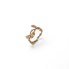 Flower and Leaf Ribbon Rose Gold Sterling Sliver Ring