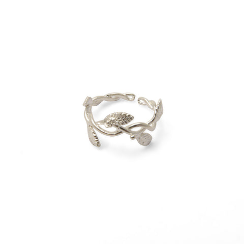 Flower and Leaf Ribbon Sterling Sliver Ring